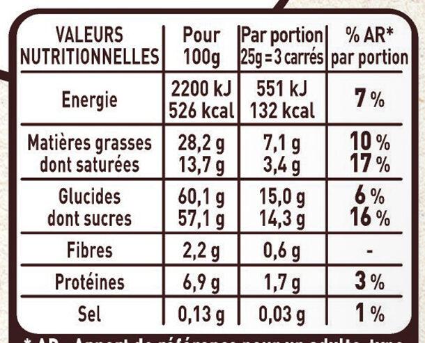 Chocolat au Lait et Nougat - Valori nutrizionali - fr