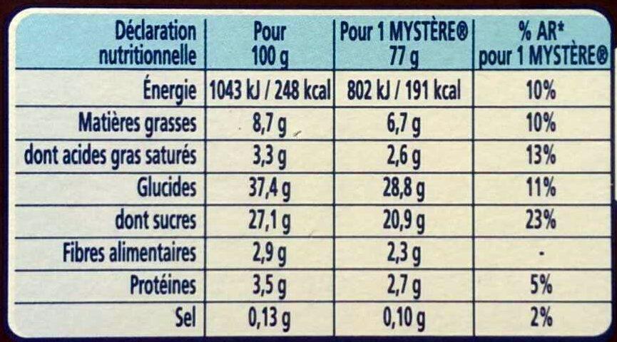 Le Mystère, Vanille de Madagascar Cœur meringue - Informations nutritionnelles - fr