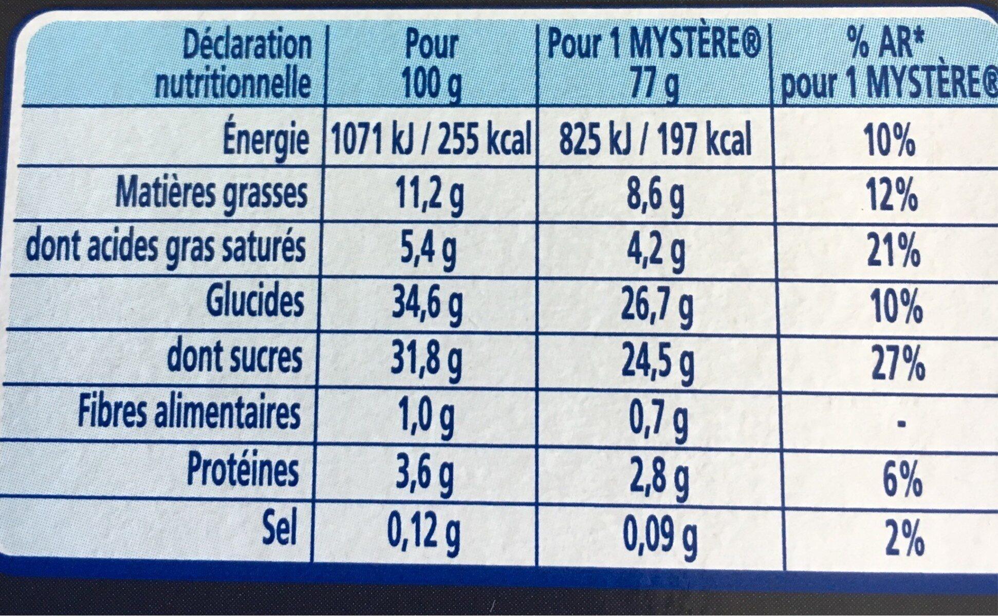 Le Mystère, Vanille de Madagascar Cœur meringue - Nutrition facts - fr