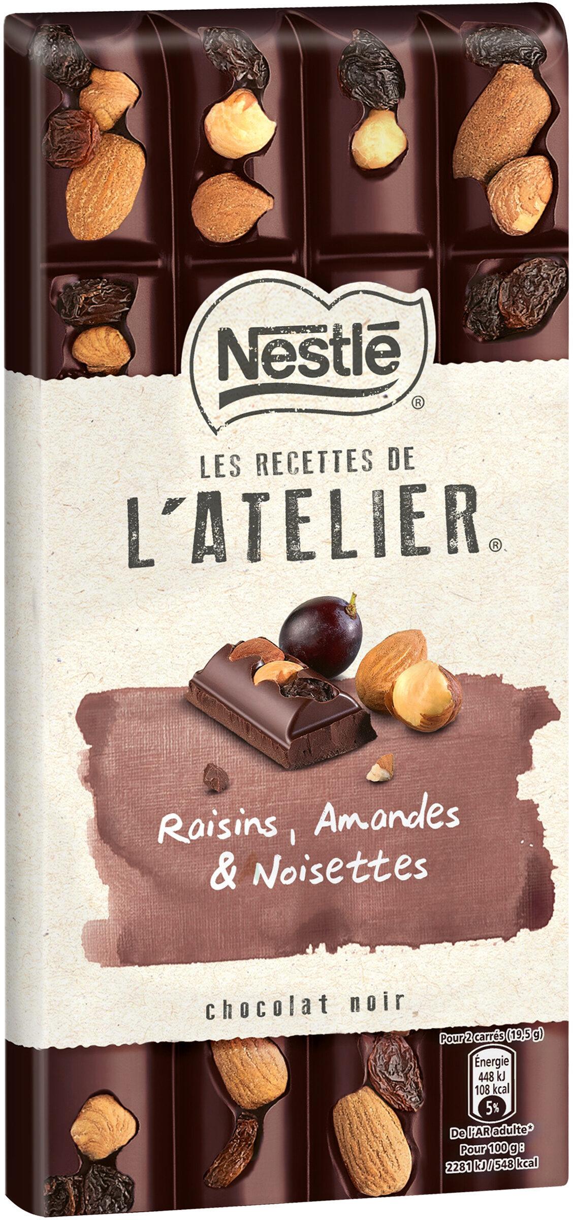NESTLE L'ATELIER Chocolat Noir Raisins, Amandes et Noisettes - Produit - fr