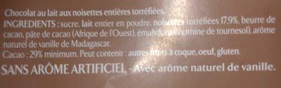 Chocolat au lait noisettes entières torréfiées - Ingredients - fr