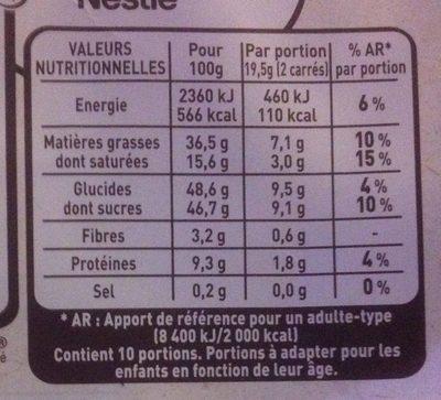 Chocolat au lait noisettes entières torréfiées - Nutrition facts - fr