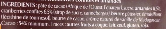 Chocolat noir Cranberries Amandes - Ingrédients - fr