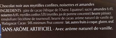 Les Recettes de l'Atelier - Chocolat Noir, Myrtilles, Amandes & Noisettes - Ingrédients - fr