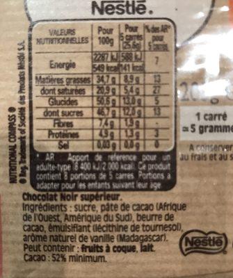 NESTLE DESSERT chocolat noir - Ingrédients - fr
