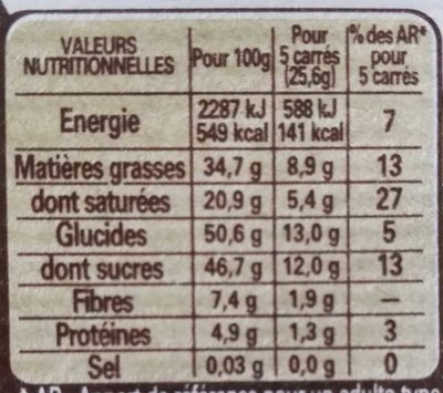 Chocolat noir  pâtissier - Nutrition facts