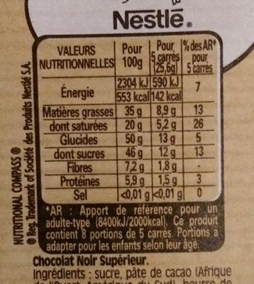 NESTLE DESSERT Chocolat Noir lot de - Nutrition facts - fr