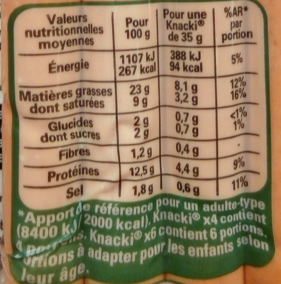 4 Knacki fumée - Nutrition facts - fr