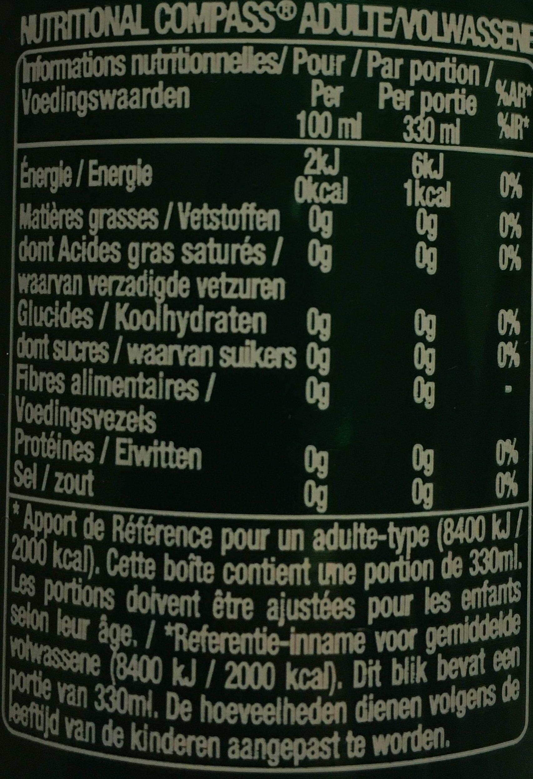 Perrier Agrumes - Voedingswaarden