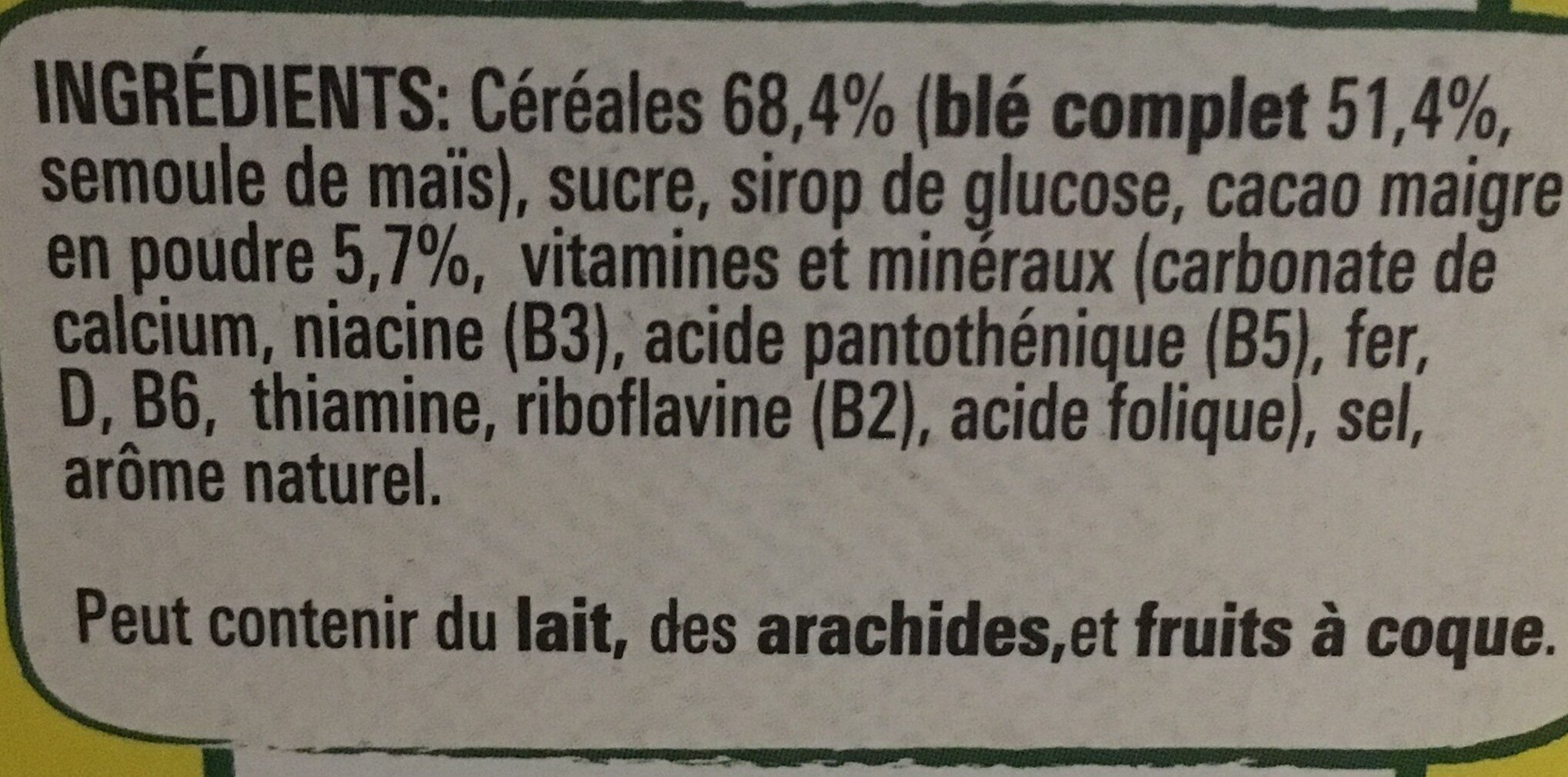 Nesquik Céréales Chocolat Blé complet - Ingredients