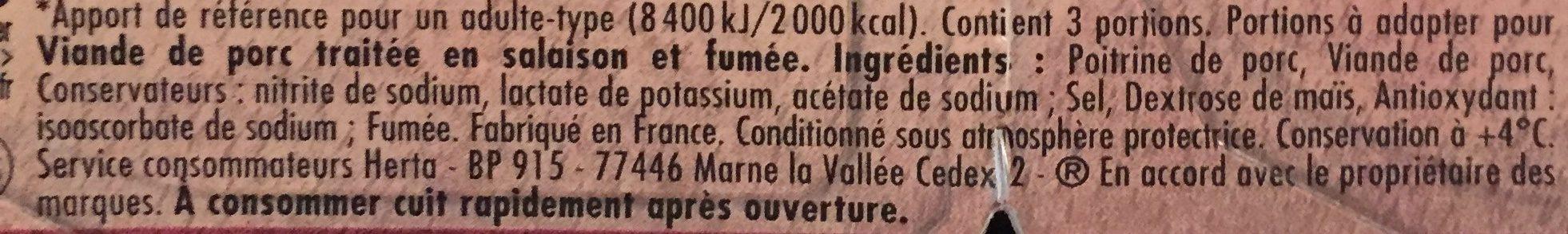 Allumettes Charcutier - Ingrédients