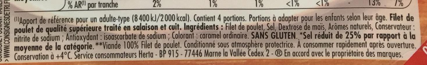 Le Bon Poulet -25% de Sel - Ingrédients - fr