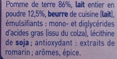 MOUSLINE Purée au lait entier Format Individuel (4x31,25g) - Ingrédients - fr
