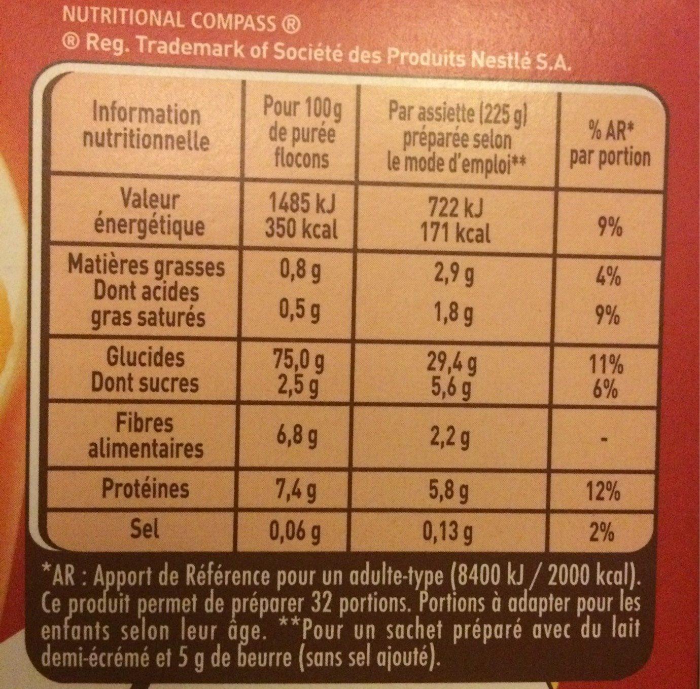 MOUSLINE Purée Nature, 8 sachets pour 4 personnes (8x130g) - Informations nutritionnelles - fr