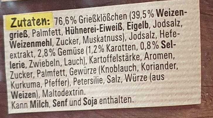 Grießklöschensuppe - Ingredients - de