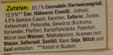 Eiermuschel Suppe - Inhaltsstoffe