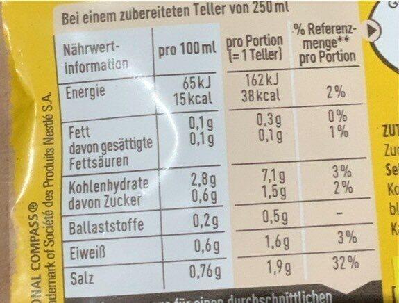 Eiermuschel-nudelsuppe - Nährwertangaben - de