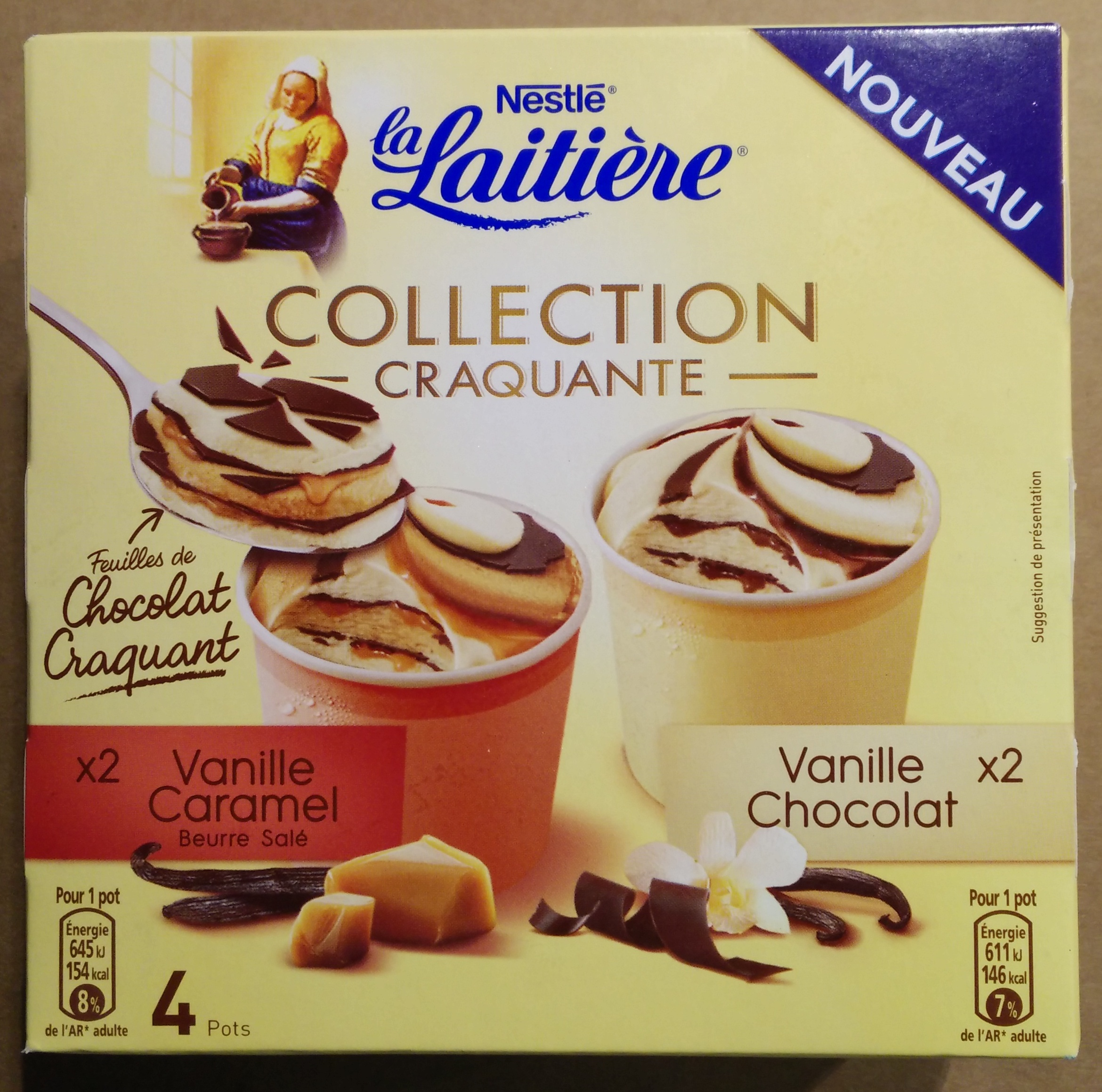 glaces vanille caramel beurre sal 233 vanille chocolat collection craquante nestl 233 234 g