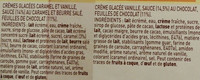 Glaces Vanille caramel Beurre Salé / Vanille Chocolat - Collection Craquante - Ingrédients