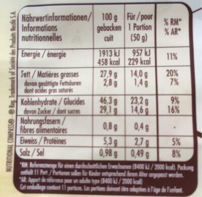 Création pâte liquide - Nutrition facts