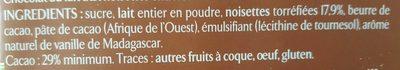 Chocolat au lait noisettes entières torréfiées - Ingrédients - fr