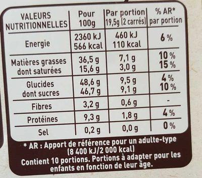 Chocolat au lait noisettes entières torréfiées - Informations nutritionnelles - fr