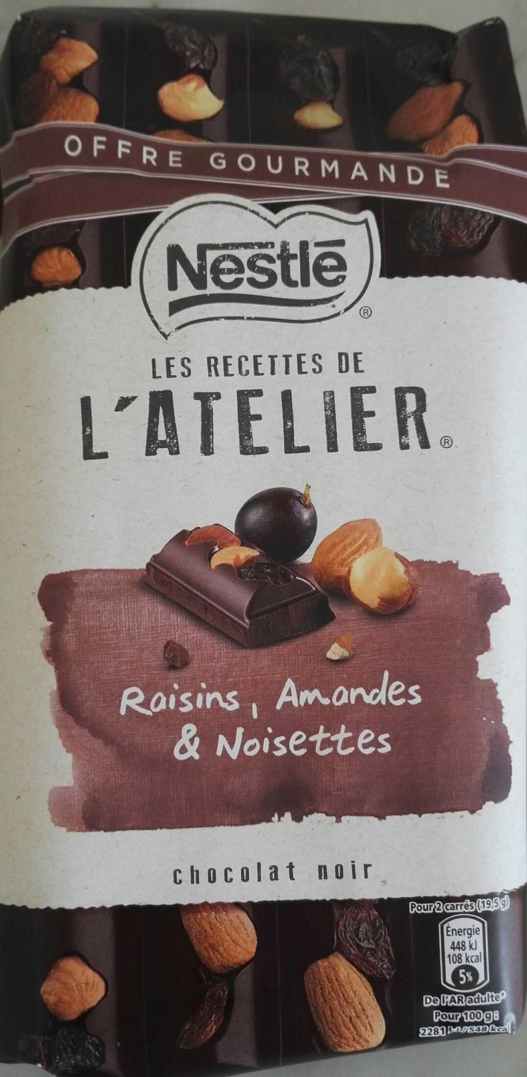 Les Recettes de l'Atelier Raisins, Amandes & Noisettes Chocolat Noir (Offre Gourmande) - Product