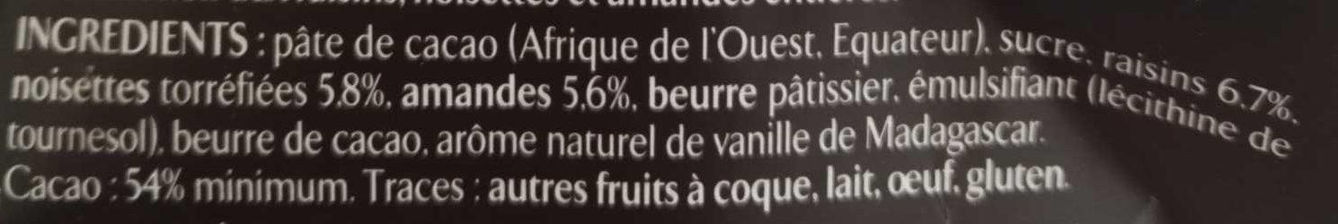 Les Recettes de l'Atelier Raisins, Amandes & Noisettes Chocolat Noir (Offre Gourmande) - Ingredients