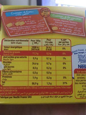 MAGGI Bouillon de Volaille Halal 6+2 tablettes - Nutrition facts - fr