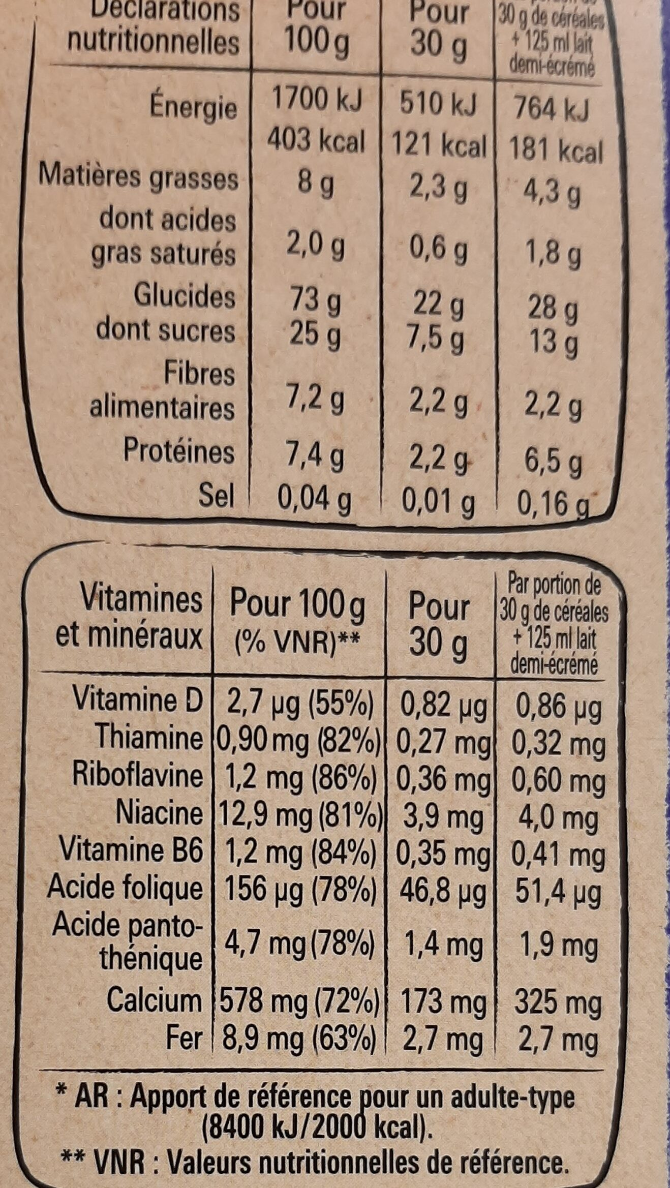 crunch - Informations nutritionnelles - fr