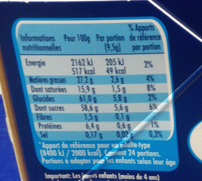 Smarties - Informations nutritionnelles - fr