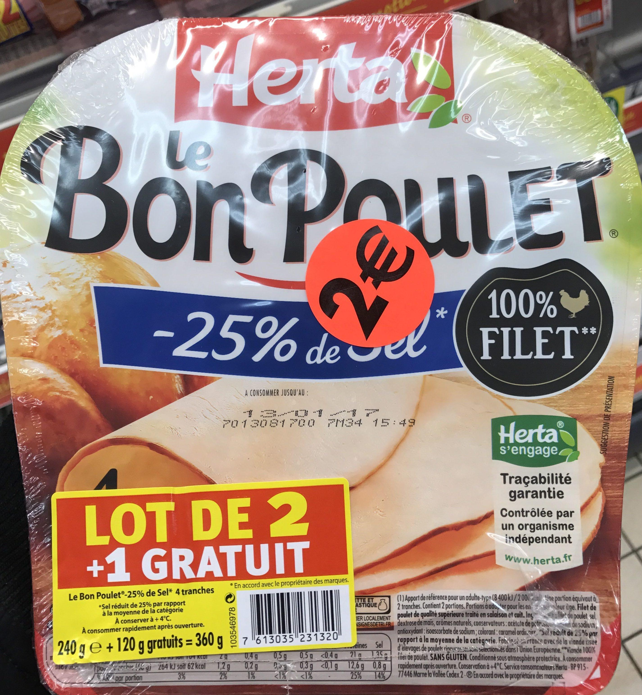 Le Bon Poulet -25% de Sel (lot de 2 + 1 gratuit) - Product
