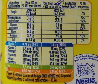 Nesquik - Informations nutritionnelles - fr