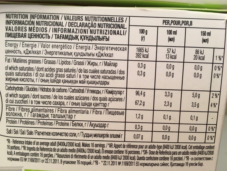 Dosette Nestle Nescafé Tea Citrus Honey - Nutrition facts