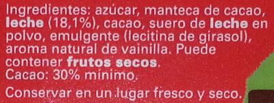 Chocolate con leche - Ingredientes