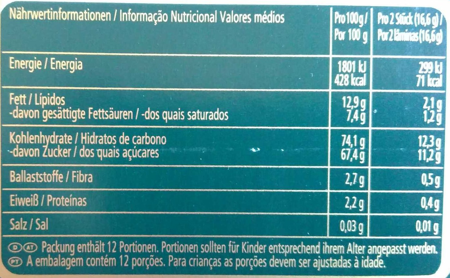 After Eight Mint & Marzipan Flavour - Nutrition facts