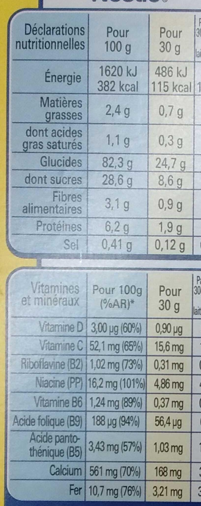 Nesquik au riz souflé - Valori nutrizionali - fr