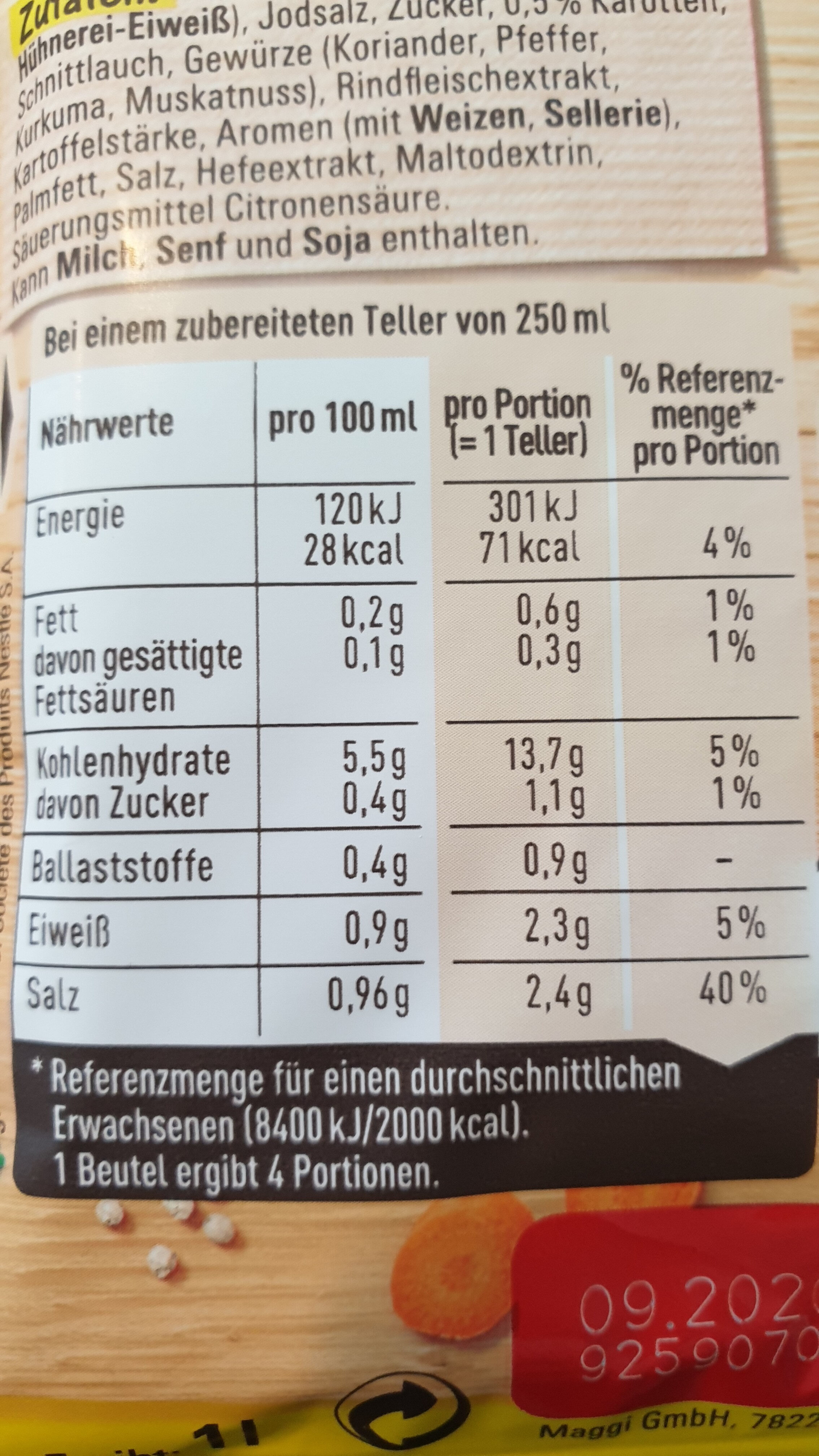 Rindfleisch Suppe - 营养成分