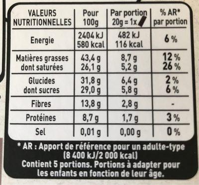 Recettes de l'Atelier N°4 Noir Epicé - Nutrition facts - fr