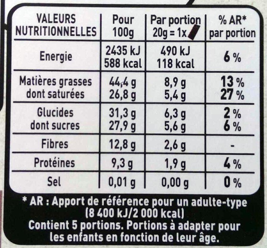 Noir fruité 70% cacao - Nutrition facts
