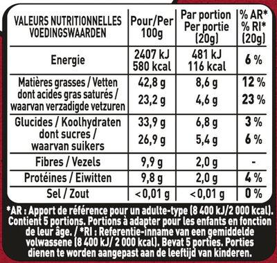 NESTLE L'ATELIER Noir 70% - Valori nutrizionali - fr