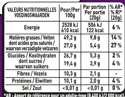 80% Cacao - Informations nutritionnelles - fr
