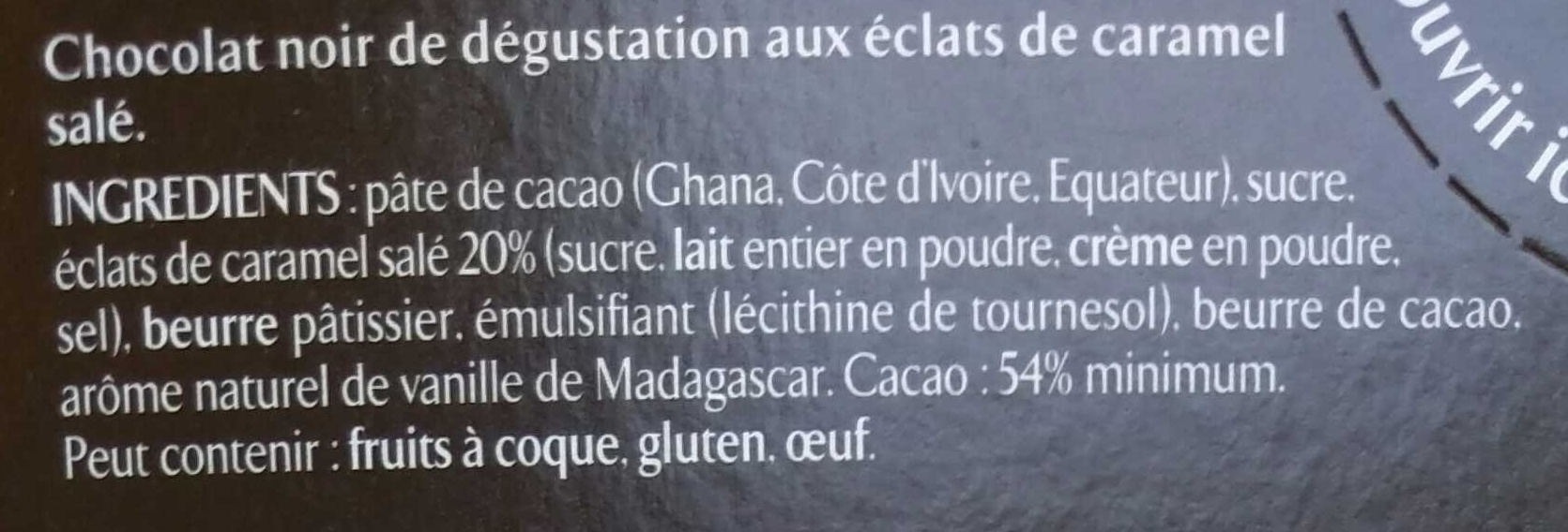 Recettes de l'Atelier N°8 Eclats de Caramel - Ingrédients - fr