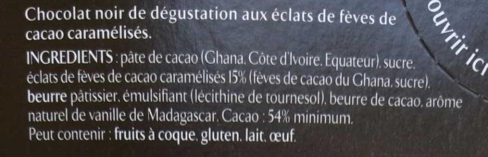 Les Recettes de l'Atelier - Chocolat noir de dégustation aux éclats de fèves de cacao caramélisés - Ingredients - fr
