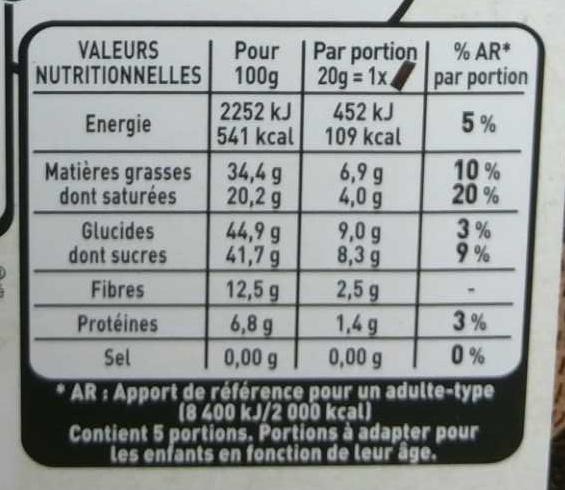 Les Recettes de l'Atelier - Chocolat noir de dégustation aux éclats de fèves de cacao caramélisés - Nutrition facts - fr