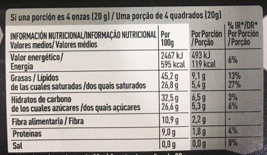 Chocolate negro extrafino de cacao sin gluten - Informations nutritionnelles - fr