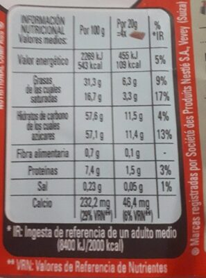 Nestle extrafino con cremoso relleno La Lechera - حقائق غذائية - fr