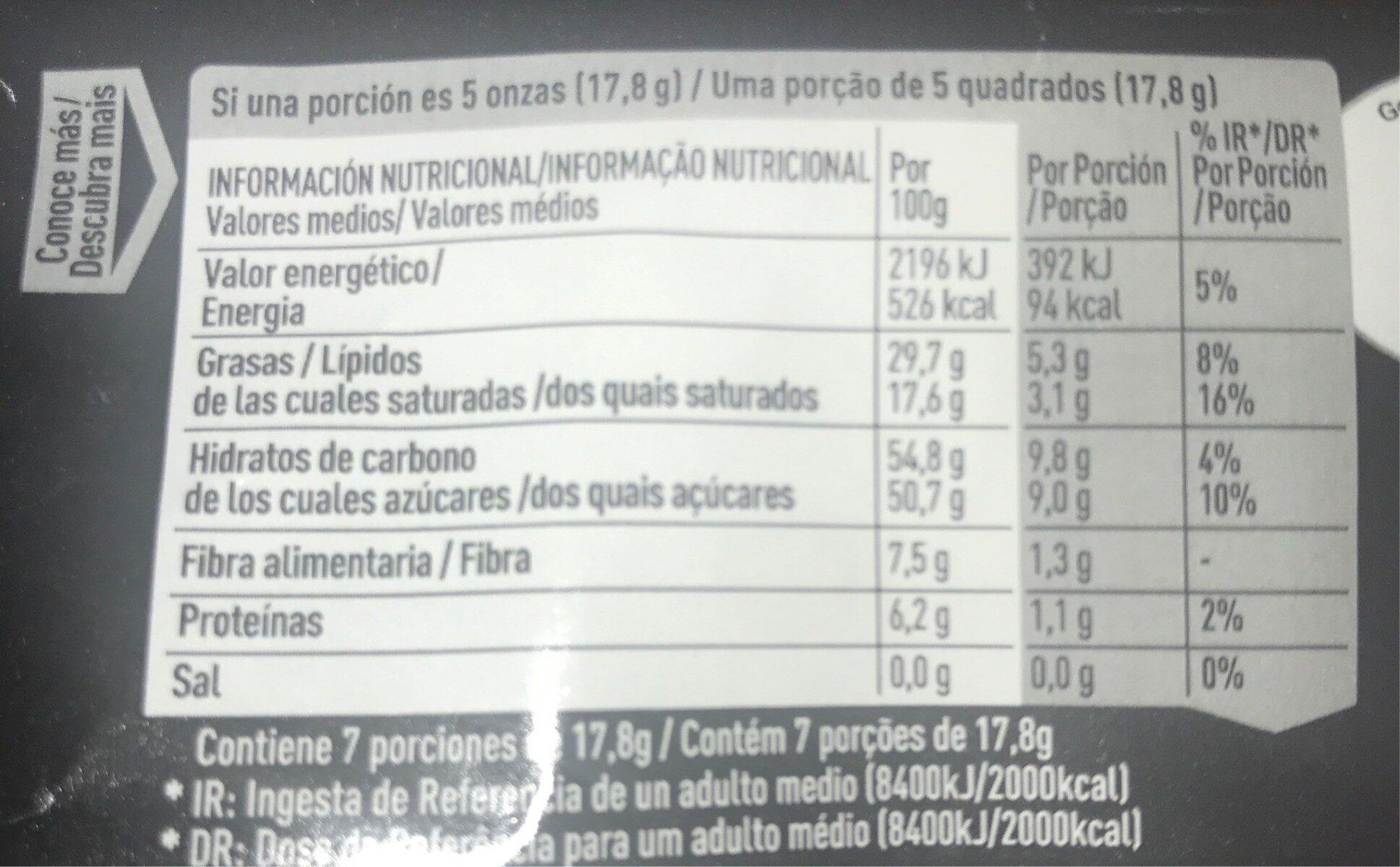Chocolate negro sin gluten - Voedigswaarden