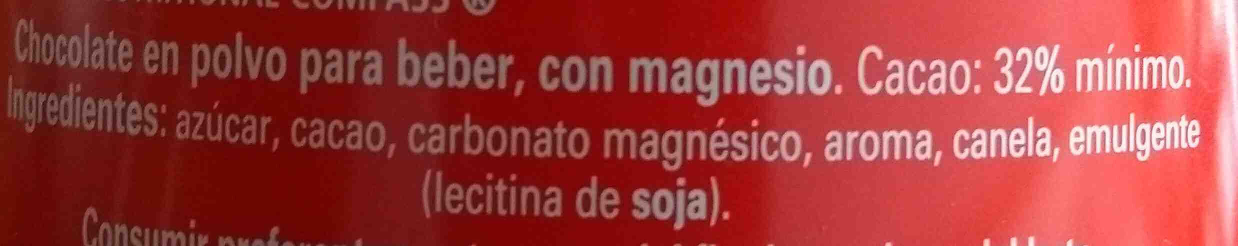 Chocolate en polvo con magnesio - Ingredientes - es