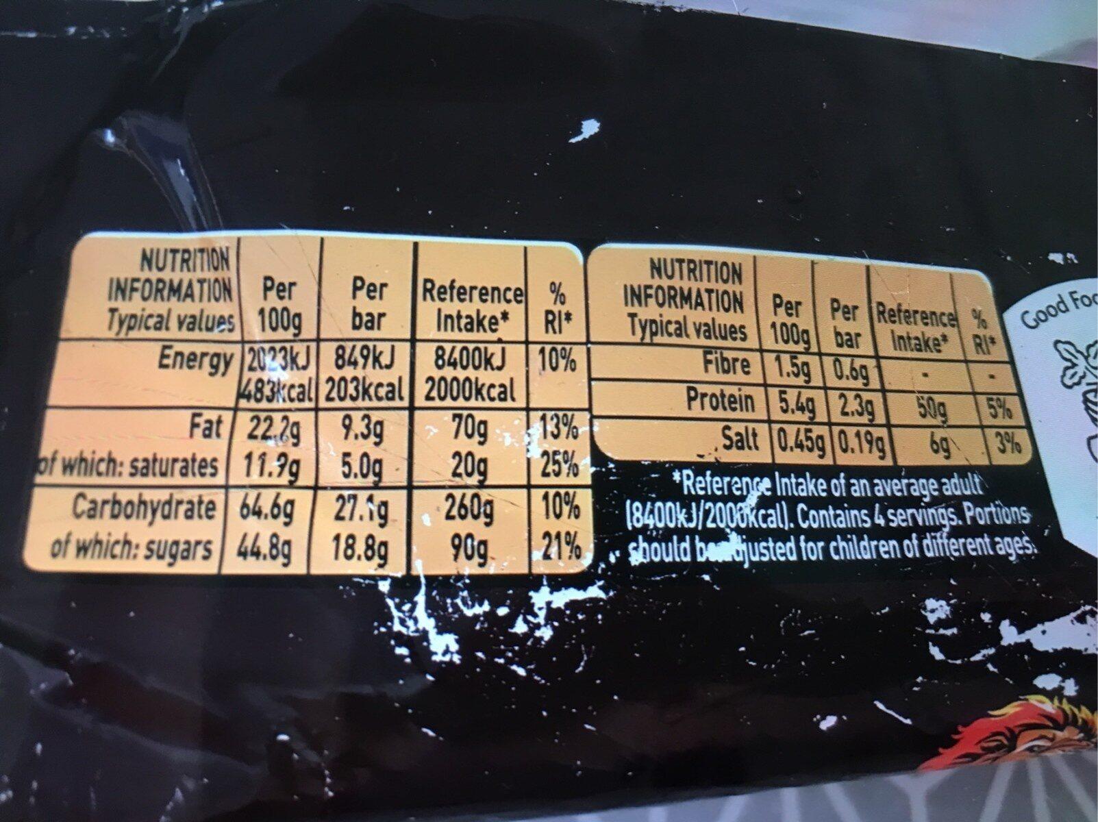 Lion - Informations nutritionnelles